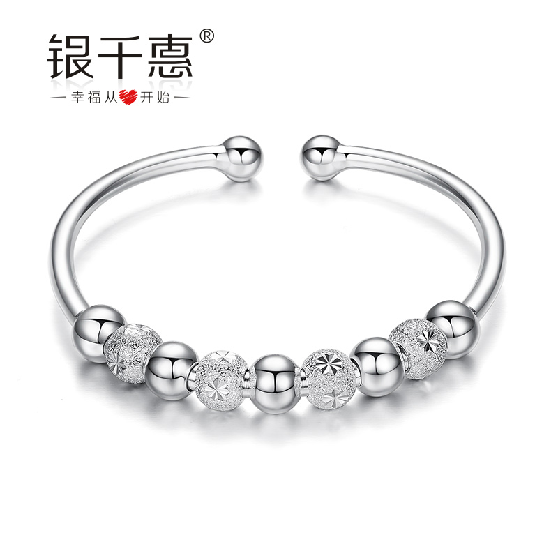 Silver chieko 990 sterling silver bracelet female models opening day ballpoint south korean bracelet birthday gift for her mother