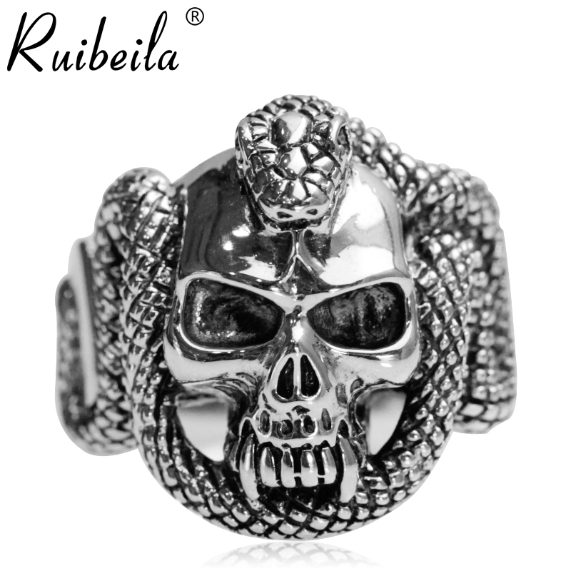 Silver snake ruibeila925 with retro punk personality skull ring men's rings thai silver finger ring