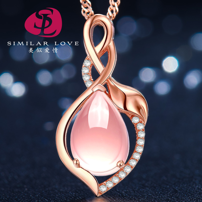 Similar love natural amethyst rose quartz crystal pendant silver necklace female short paragraph clavicle simple chain jewelry rose gold plated