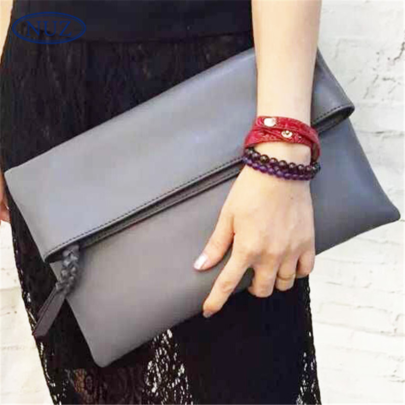 Simple and stylish nuz korean leather clutch bag large capacity 2016 new ladies solid color envelope package tide 4257