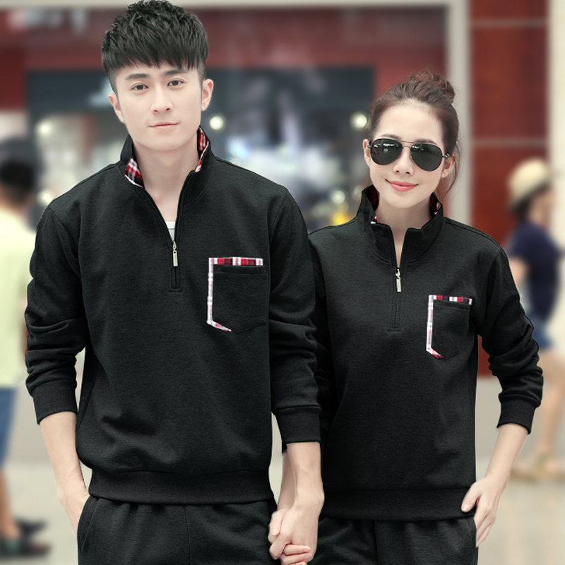 Simple collar korean slim track suit lovers sportswear for men and women big yards casual clothes plus velvet spring