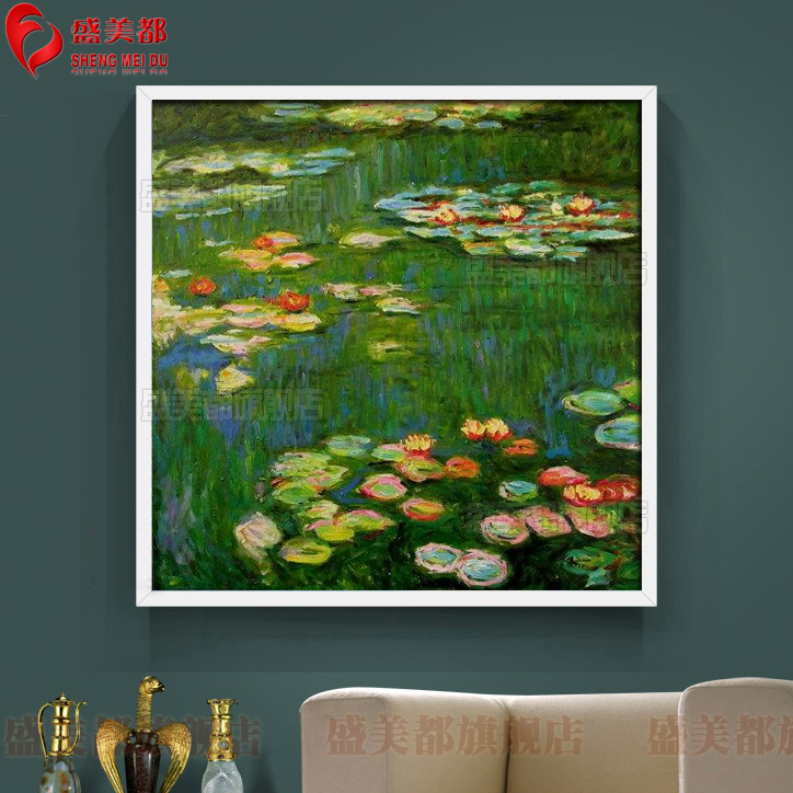 Simple european painting pure hand painted three-dimensional square framed painting restaurant entrance mural paintings monet water lily paintings copy