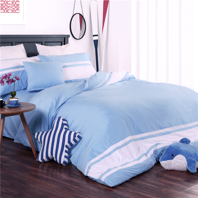 Simple solid color cotton thick brushed cotton denim autumn and winter 1.82.0m double bed quilt 2x2