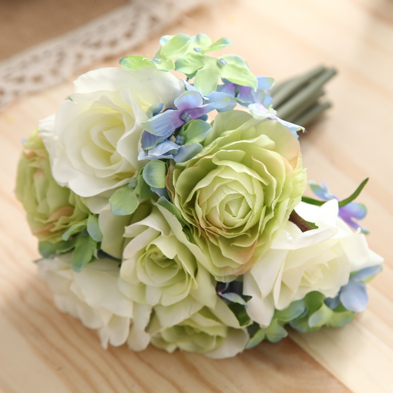 Simulation flowers artificial flowers artificial flowers roses flower soft home decorations living room table vase whole body floral bouquet decoration