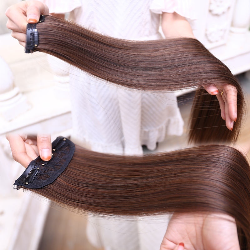 Simulation hair two clip seamless thick 2片female 2 card straight hair wig matte high temperature wire hair piece can be hot roll Hair piece