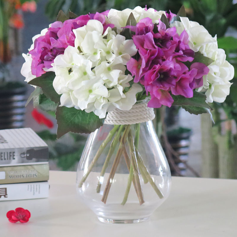 Simulation hydrangea bouquet of fake flowers silk flower art small fresh creative home bedroom furnishings decoration creative vase suit