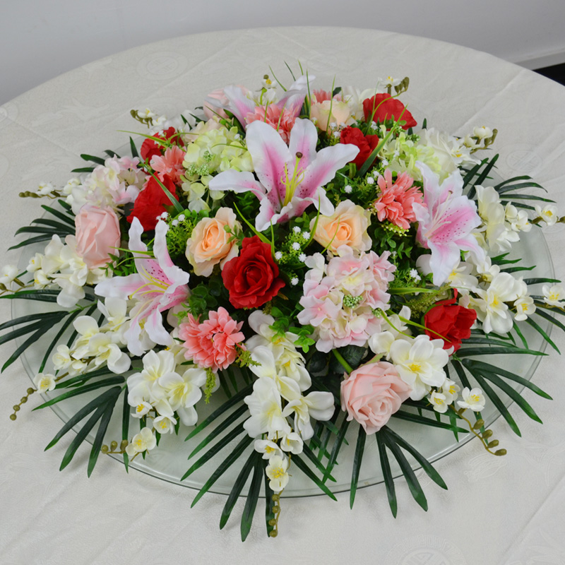 Simulation round fake silk flower decoration flower suit tops hotel reception desk conference room of the mixed baihe.com decoration