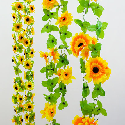 Simulation sunflower sunflower rattan vine flower vine artificial flowers decorate the living room balcony decoration decorative piping