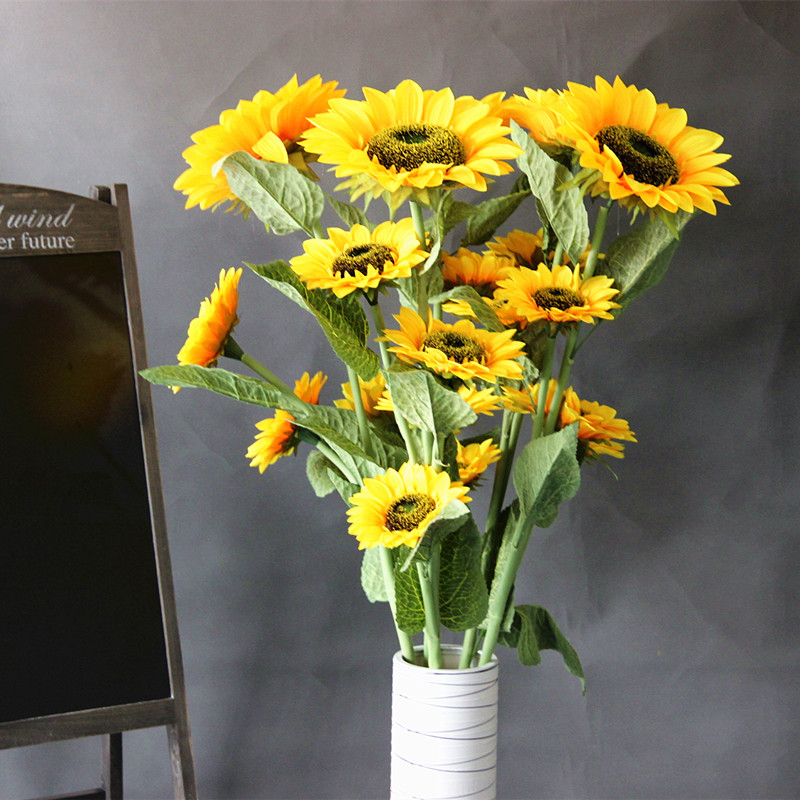 Simulation sunflowers sunflower artificial flowers decorate the living room decorative dried flowers artificial flower preservation silk floor living room furnishings