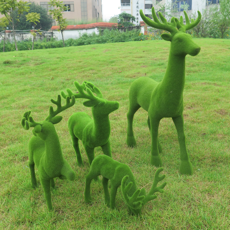 Simulation tufting animal bowlegged kitten bow deer deer fake simulation stone landscape garden decoration