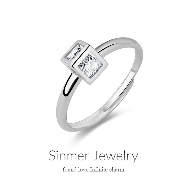 Sinmer/heart charm korean female s925 silver inlaid zircon ring nvjie quartet when shang silver jewelry new