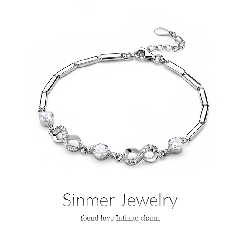 Sinmer/heart charm slubby chain twisted silver inlay zircon 925 silver bracelet bracelet fashion accessories gifts