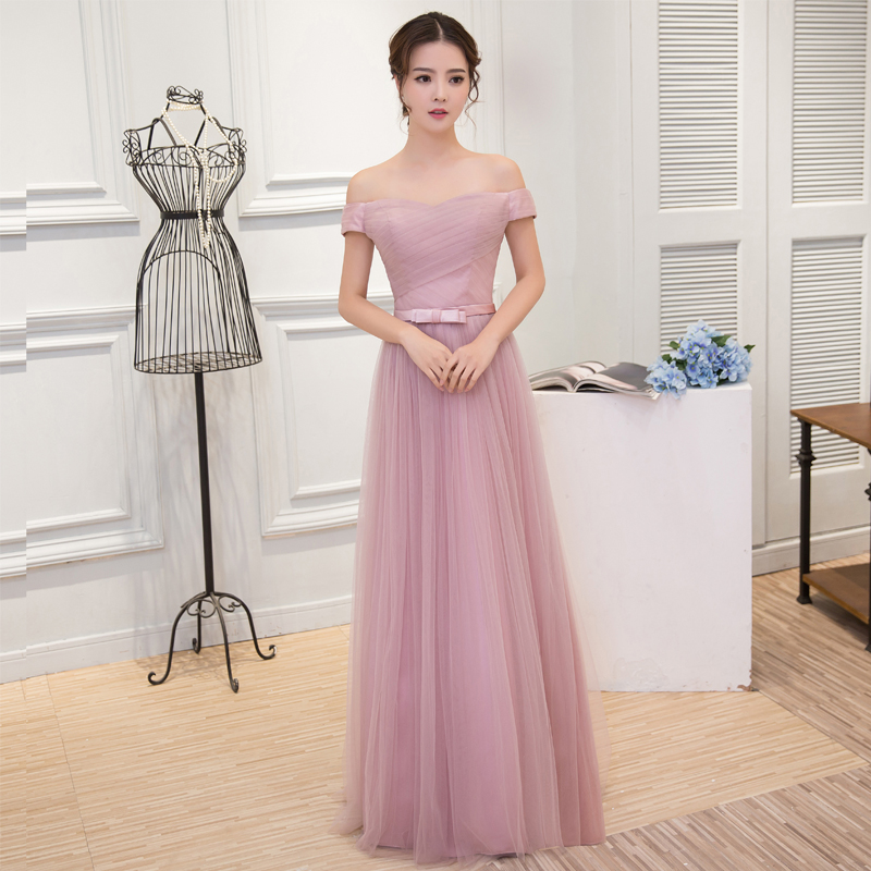 Sister group bridesmaid dress spring 2016 word shoulder long sleeve was thin long section sisters dress bridesmaid dress bridesmaid dress banquet evening dress