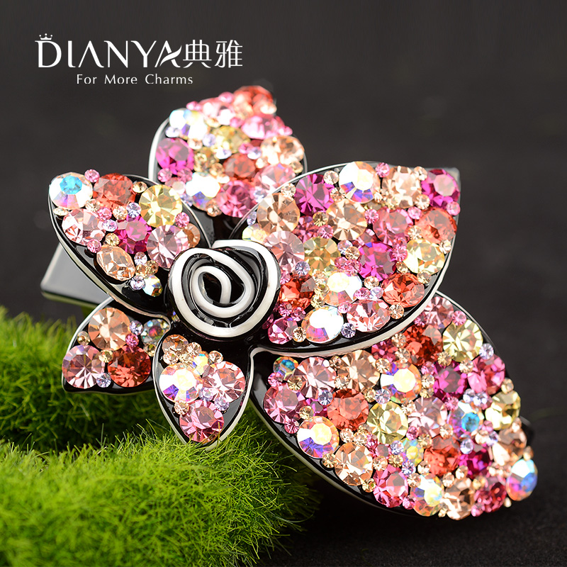 Sisters spring clip hairpin korean korean diamond elegant medium hair clip top folder full of diamond tiara hair ponytail chuck