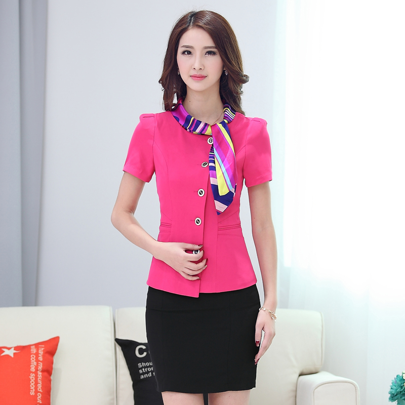 Sleeved stewardess uniforms career suits ladies fashion dresses spring and summer dancery reception desk cashier hotel uniforms