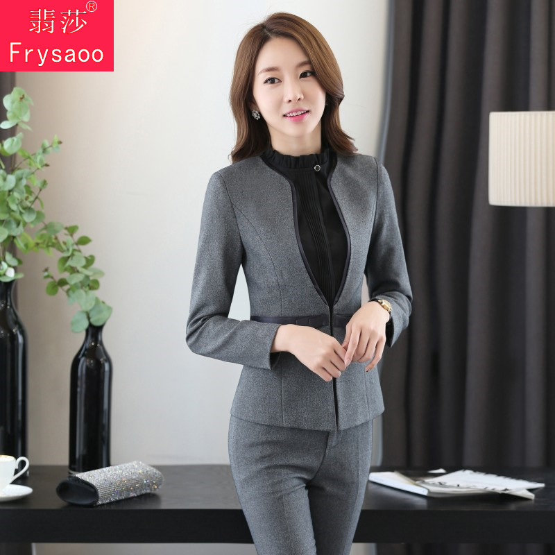 Slim ladies wear suits ms. interview dress suit korean version of spring and black suit overalls taoku