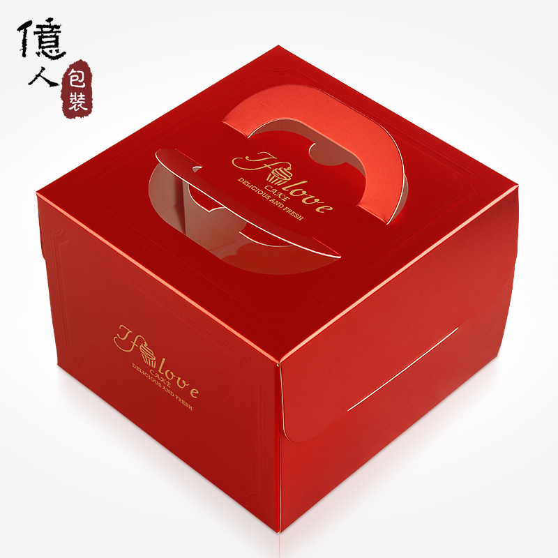 Small box of hundreds of millions of chinese red portable birthday cake box 4/6/8/10 inch baking custom logo 500 from the hair