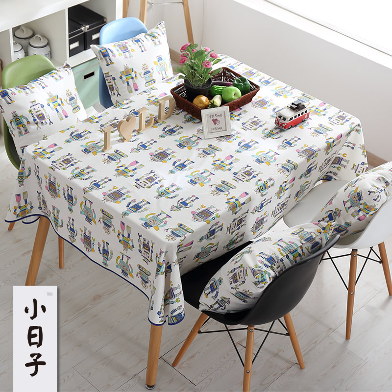 Small Day Quality Cotton Cloth Tablecloths Coffee Table Cloth Tablecloth  Modern Minimalist Cartoon Children Small Robot