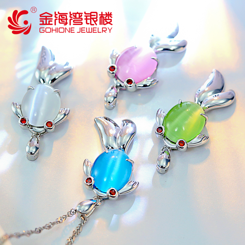 Small fish fish pendant necklace female 925 silver jewelry clavicle korea simple imitation opal pendant exquisite accessories