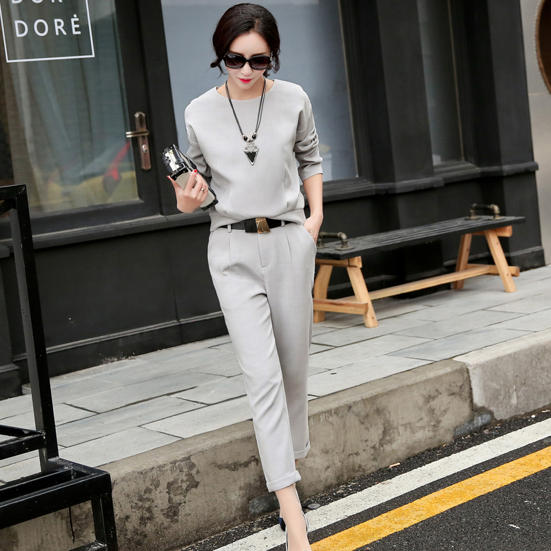 Small fragrant wind ladies fashion suits women wear 2016 spring new ol slim was thin pants feet piece
