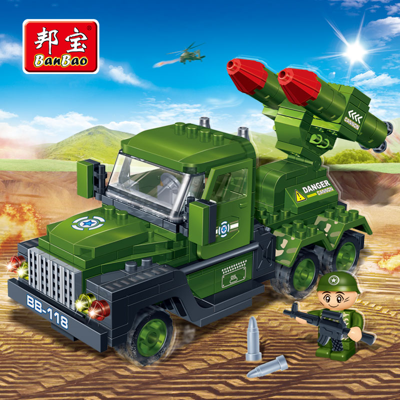 [Small particles] bang bao military educational building blocks assembled puzzle boy child car toy missile car 8844