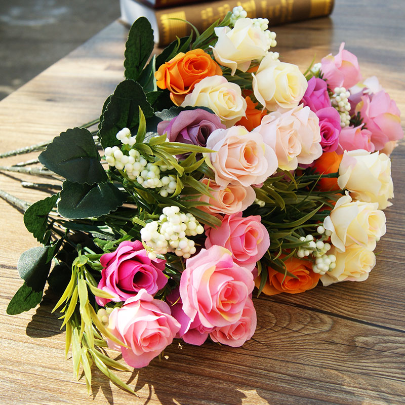Get Quotations · Small Roses Simulation Silk Flower Artificial Flowers  Dried Flowers Artificial Flowers Floral Living Room Furnishings Valentine