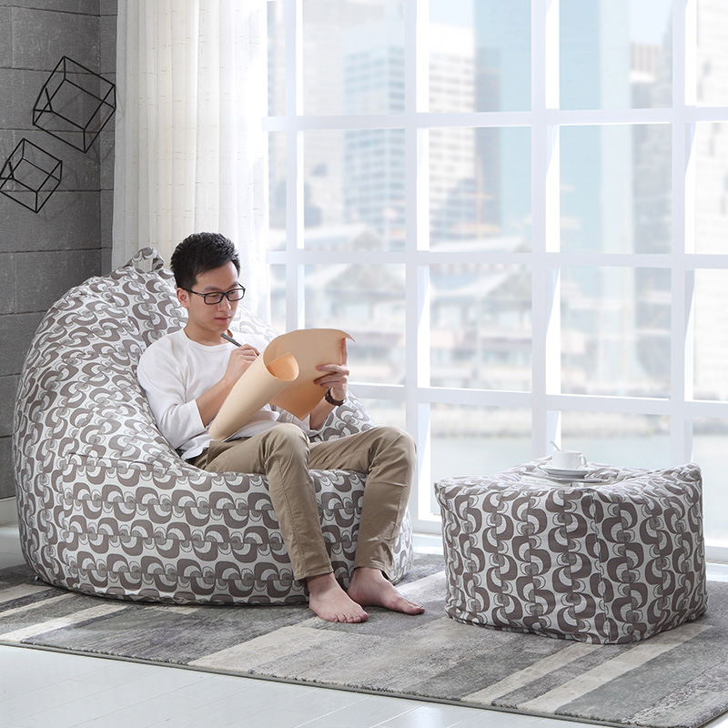 Minimalist Small single sofa fabric casual lunch beanbag bean bag creative personality bedroom room balcony backrest Model - bean bag sofa Modern