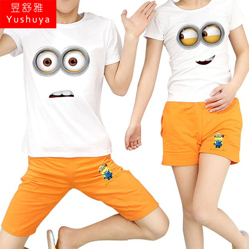 Small yellow people despicable me huang doudou cartoon girlfriends t-shirt shorts despicable me t-shirt design t-shirt lovers