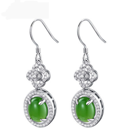 Smooth natural and tianbi yu spinach green jade fashion 925 silver inlay zircon earrings ms. howe china HT46