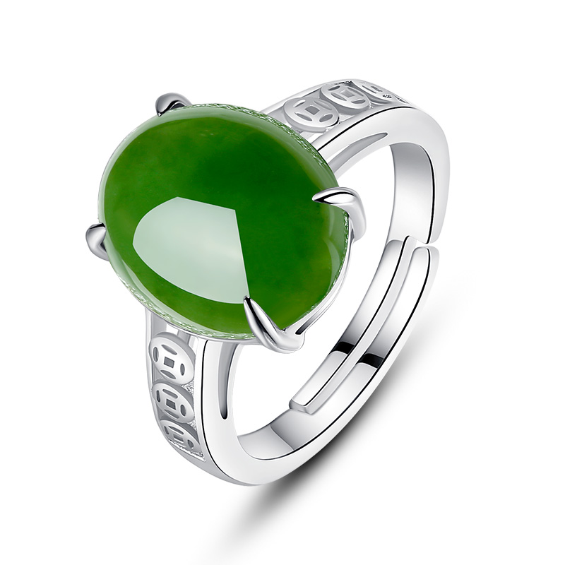 Smooth smooth natural and tianbi yu spinach green jade 925 silver inlay zircon ring finger by301