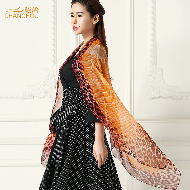 Smooth soft silk leopard print silk scarf 100% silk scarf female long scarf shawl scarf air conditioning towel