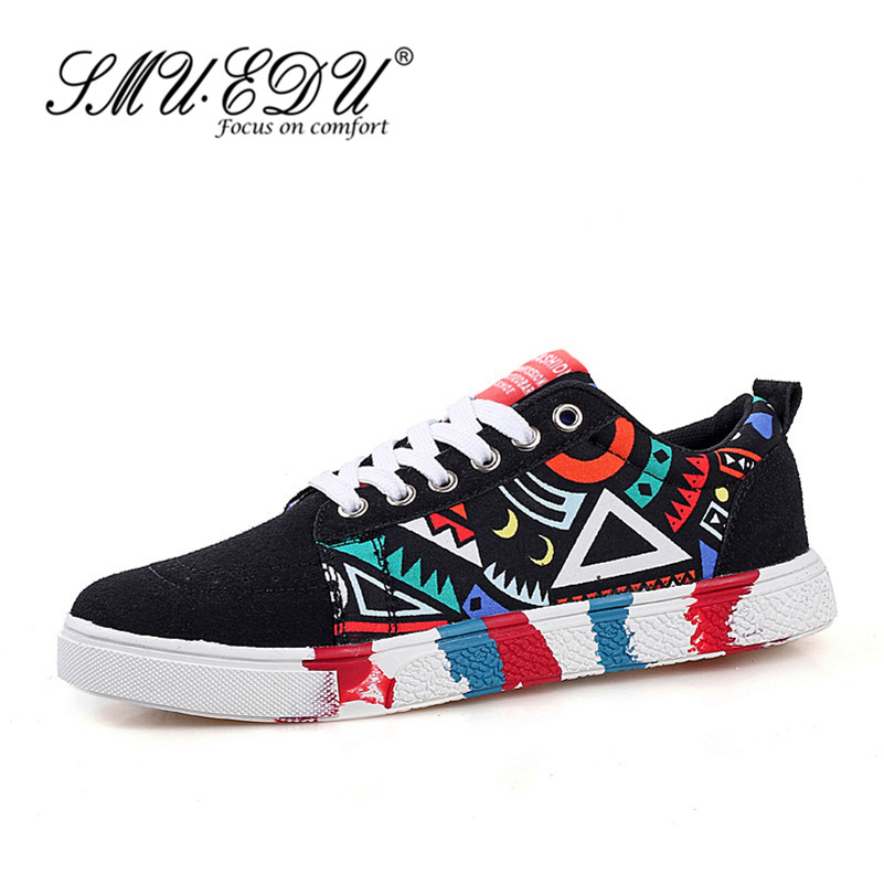 SMUEDU2016 summer wild breathable casual shoes graffiti canvas shoes lace low to help youth spring tide shoes 4493