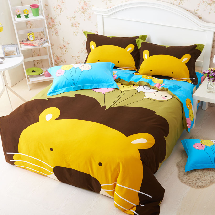 Snow shinny 16 new special thick brushed cotton bedding a family of three family of four children's cartoon forest animals