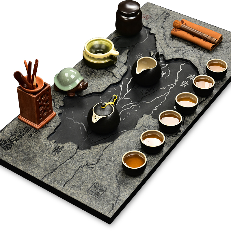 Snow was in the beginning days of a single piece of black stone black stone tea tray kung fu ru binglie purple insulation tea set