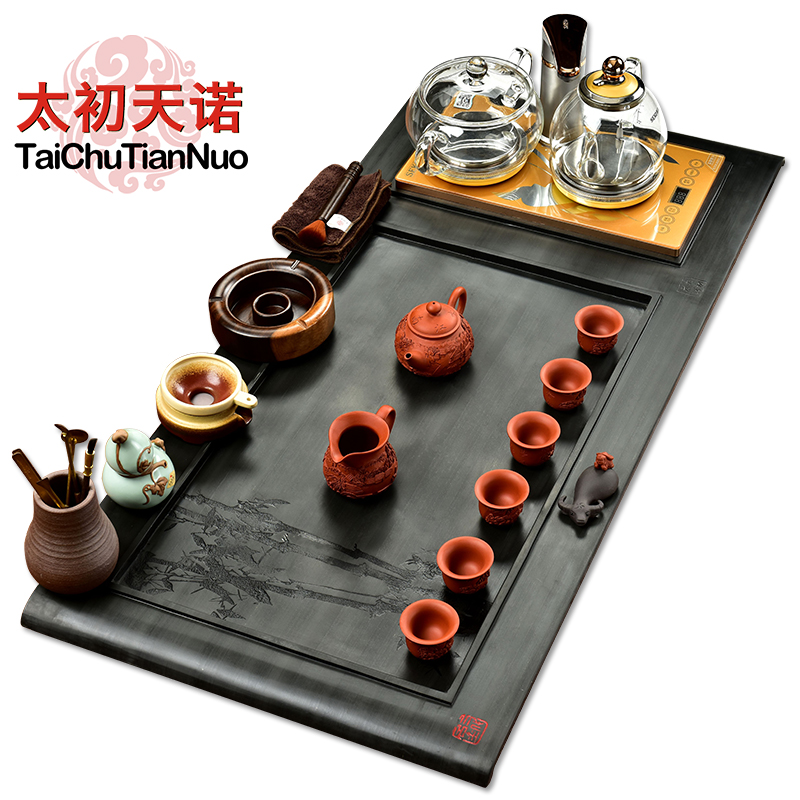 Snow was in the beginning days of a single piece of black stone black stone tea tray kung fu tea sets tea tray yixing tea tea tea pet electric furnace