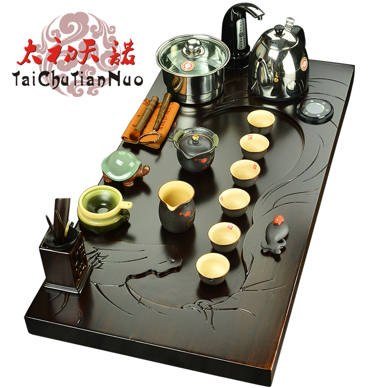 Snow was in the beginning days of ebony wood tea tray entire piece of wood large plate tea sets tea tray kung fu tea set electric furnace