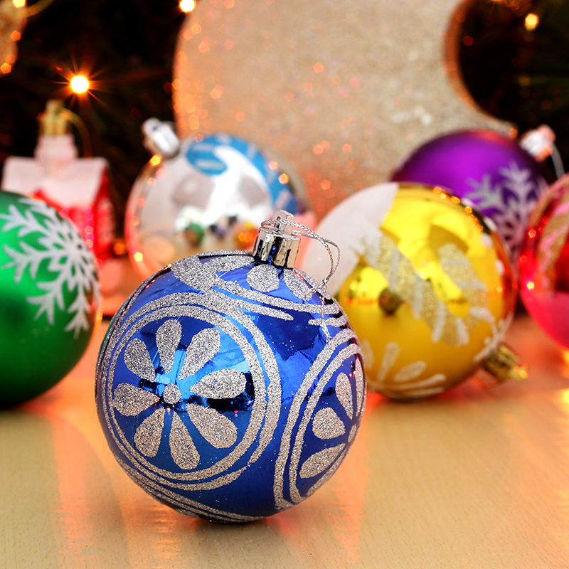 Snowflakes painted christmas ball plating ball of light 8 cm 6cm christmas decoration ball christmas tree ornaments