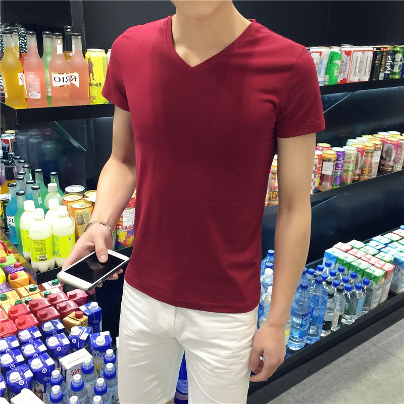 Solid color men's big yards long sleeve t-shirt adolescent boys short sleeve compassionate men's v-neck shirt bottoming wild slim sweater