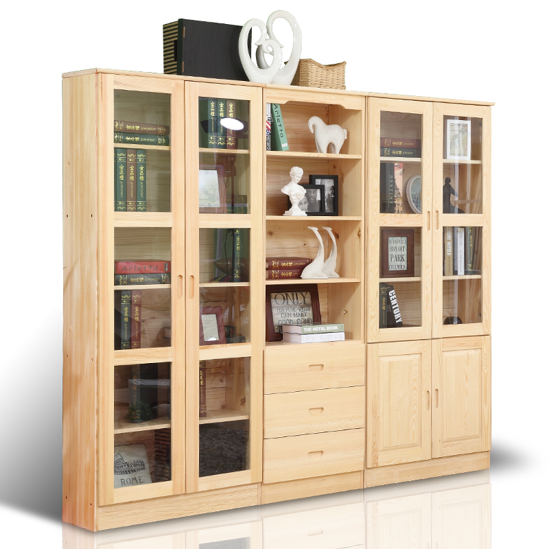 Solid wood bookcase bookcase free combination of pine bookcase bookcase child simple children's bookcase bookcase lockers with doors