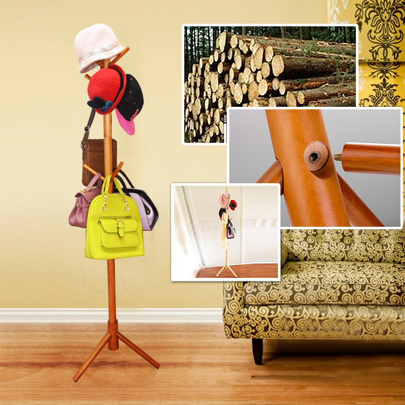 Solid wood coat rack hangers hanging clothes fashion clothes rack hanger floor bedroom simple european clothing rack