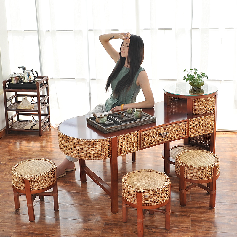 Solid wood coffee table garden tea table kung fu tea table and chairs combination minimalist modern tea sets tea craft table rattan furniture deals