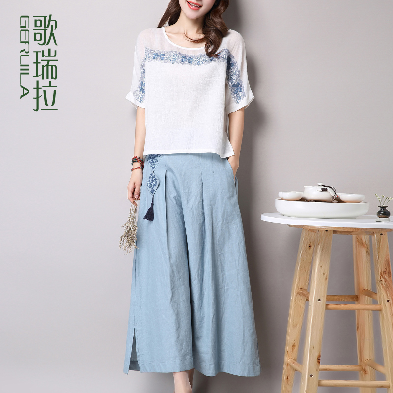 Song rilla 2016 summer new linen dress piece suit embroidered t-shirts + linen skirt bust