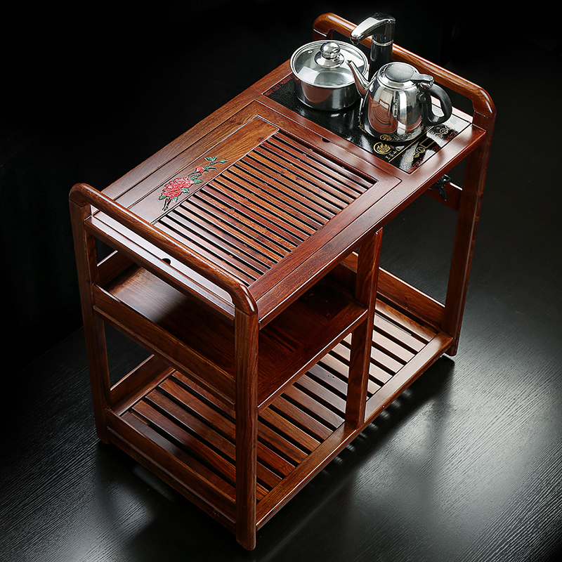 Source tacsen natural rosewood wood tea tray tea cart trolley car multifunction large tea tray tea sea tea cart