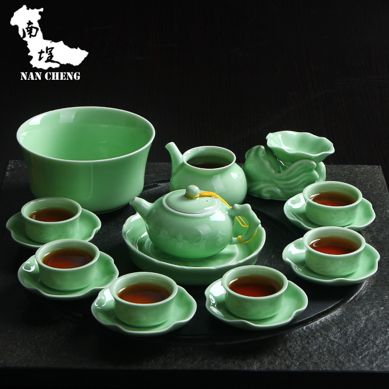South courtyard upscale upscale longquan celadon kung fu tea set special package ceramic tea set with porcelain