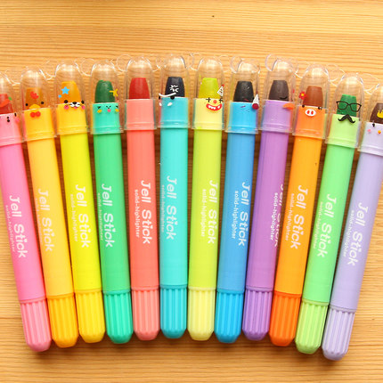South korea creative stationery korea cool 12 color rotary crayon marker highlighter solid jelly fluorescent marker pen