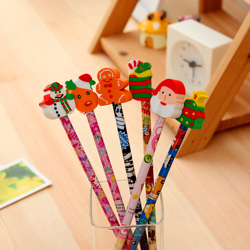 South korea creative stationery wholesale primary prizes for children wooden christmas gifts plus pencil eraser