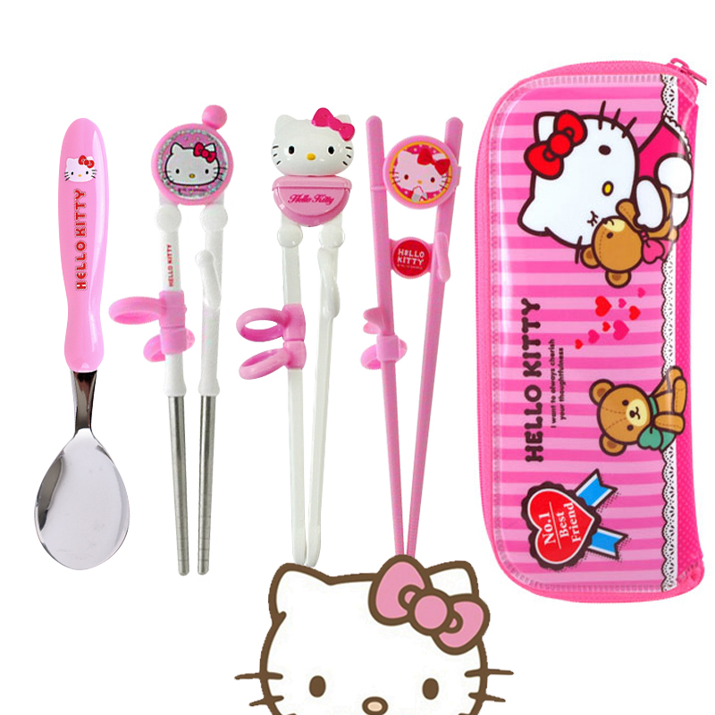 South korea imported hello kitty kitty stabbled corn light resin learning chopsticks training chopsticks spoon suit