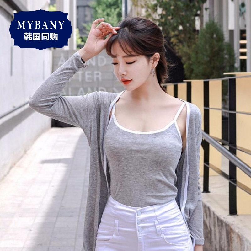 South korea MYBANY2016 camisole summer korean version was thin edging color and the same paragraph cardigan suit