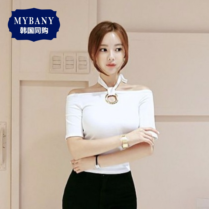 South korea MYBANY2016 ladieswear flexibility neckband summer korean version of the sexy and ring design wear two style t-shirt