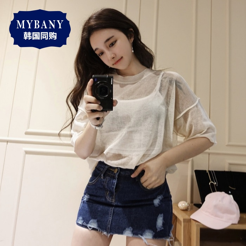 South korea MYBANY2016 summer korean version was thin and sexy microlens considered off shoulder loose version of women t-shirt